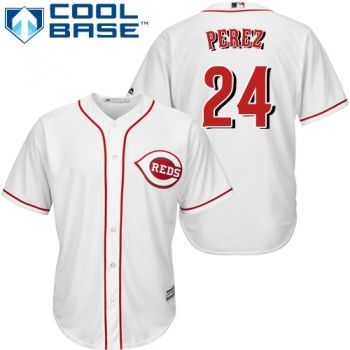 Youth Authentic Home White Cincinnati Reds Tony Perez Jersey Cool Base MLB Majestic