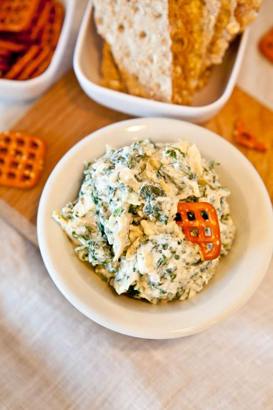 HOT Healthy spinach and artichoke dip. Used silken tofu instead of greek yogurt or cream cheese. Excited to try this one!