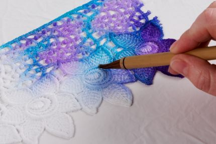 must paint lace!!  There is a special kind of lace paint kit you can buy, or I can use the fiber dyes I have!  Cool!