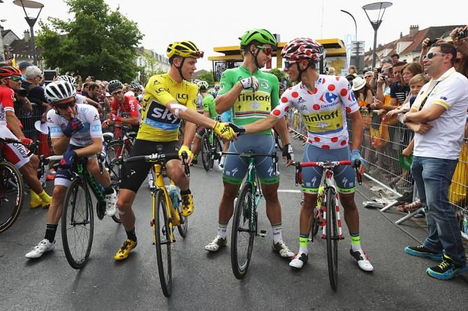 Adam Yates, Chris Froome, Peter Sagan and Rafal Majka at the Start of Stage 21