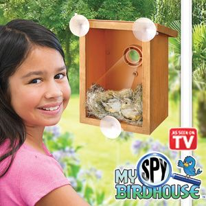 "Product # HD40405 - All-weather suction cups mount easily onto a window. A 2-way mirror lets you see the birds INSIDE - but they can't see you! Watch birds build nests, hatch eggs and feed their young. Keeps birdwatchers of all ages captivated year after year. Even furry family members will love to watch! 7-3/4""H x 6-1/4""L x 4-1/2""W $19.98"
