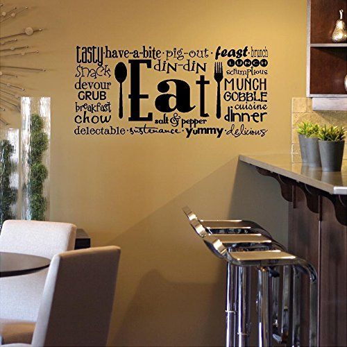 eat phrases wall saying vinyl lettering art decal quote sticker home decal wall sayings vinyl lettering - Kitchen Wall Decor