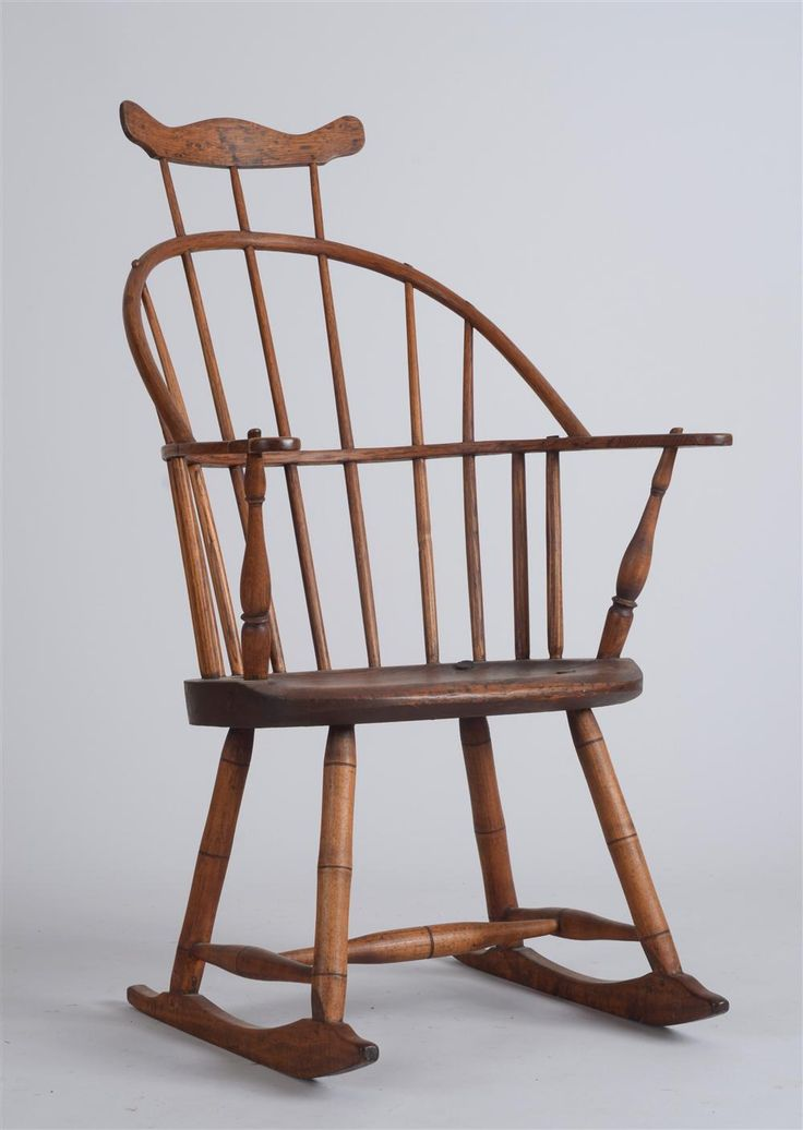 Windsor Style Oak, Maple And Pine Comb Back Rocking Chair 40 X 23 1