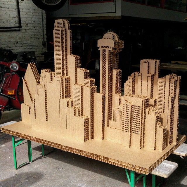 Cardboard city scape