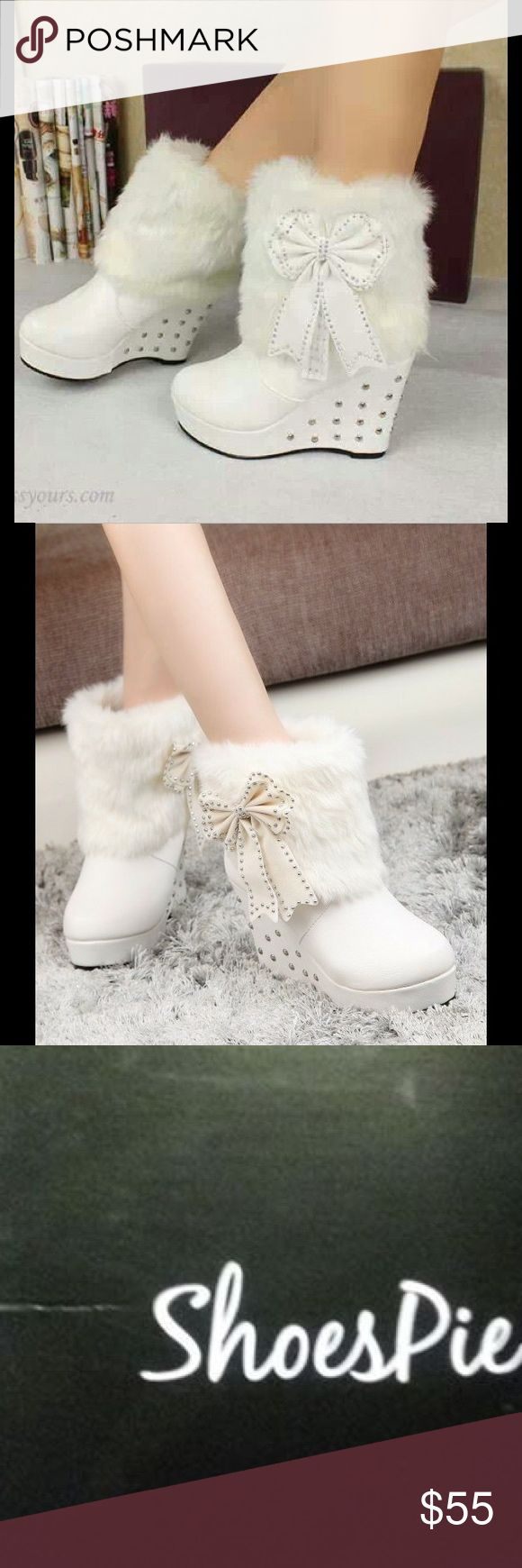 One Day Sale! Shoes pie white wedge bow booties Lightly worn. Size 6.5/7. Faux Fur. Shoespie Shoes Ankle Boots & Booties