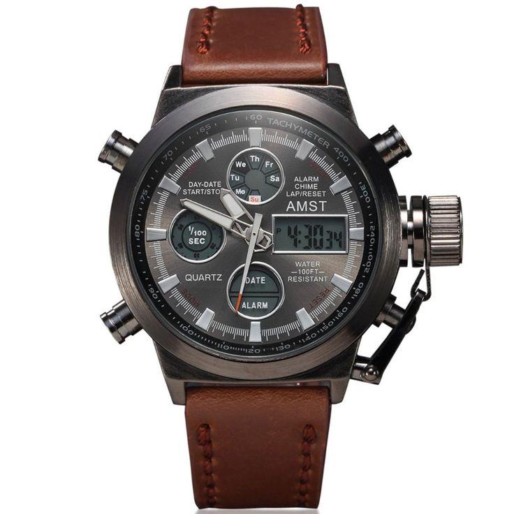 2015 AMST бренд погружение из светодиодов часы мужчины спорт военные часы натуральная кожа кварцевые часы мужчины наручные часы Relogio Masculino купить на AliExpress