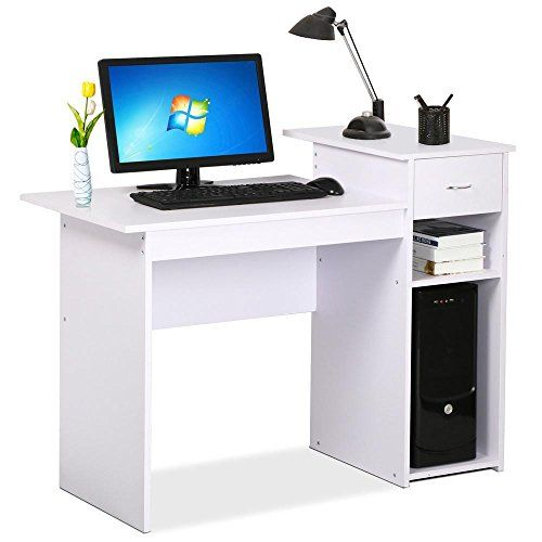 perfect compact computer desk for home office study or dorm equipped with an elevated printer shelf