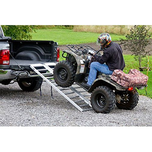 Full Width Tri-Fold Aluminum ATV Loading Ramp 77″ x 54″  Full width tri-fold aluminum ATV loading ramp. The triple fold features a large 54″ wide loading surface designed to fold compact to 17.5″W x 5.5″H for storage between uses. Includes full-width attaching lips and (2) safety tie-down straps to stabilize and secure the ramp in place. Made with all-aluminum construction for long lasting durability.    77″L x 54″W ATV loading ramp with a maximum 1,500 lb. load capacity (heavy duty ..