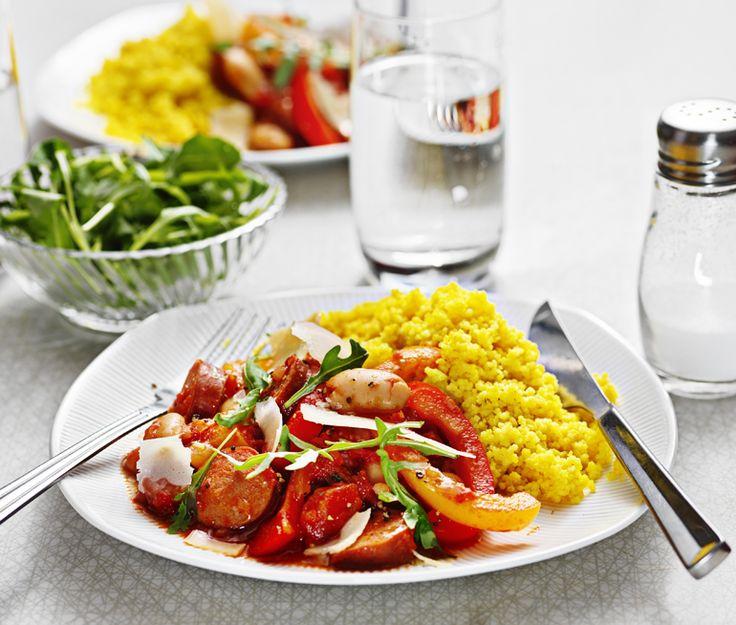 Chorizo-stroganoff med paprika | Recept ICA.se