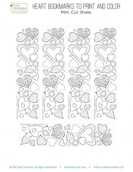 Valentine+Heart+Bookmarks+to+Print+and+Color+|+Carla+Schauer+Designs