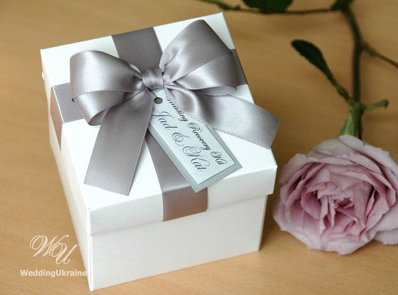 Elegant Favor Gift Box With Satin Ribbon Doubled Bow And Tag White Silver Custom Personalized Wedding Bo