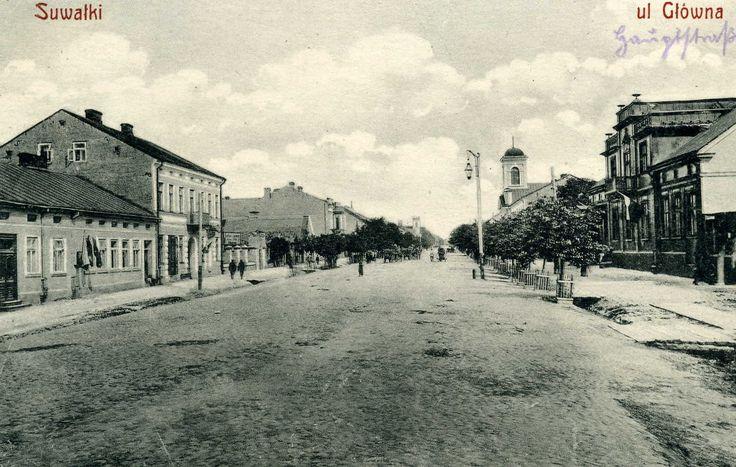 Suwalki  ul Glowna (Glowna Street) Unused, ca 1913
