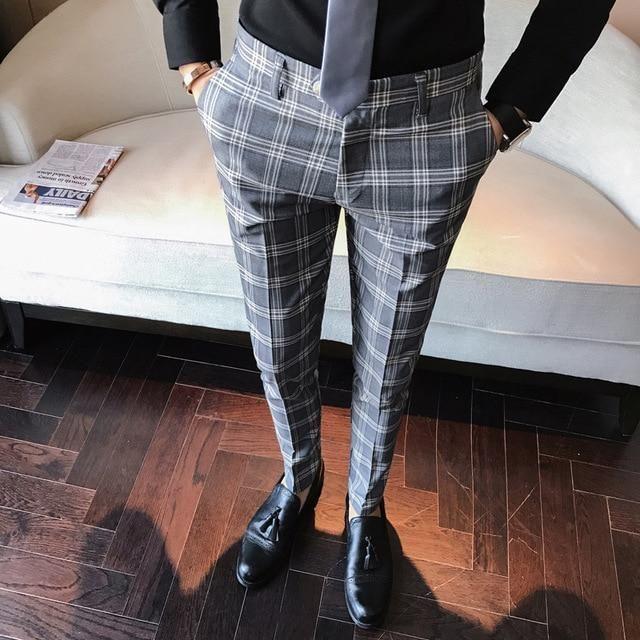 Men Dress Pants Slim Fit Formal Business Plaid Pants Men Pantalon A Carreau Homme Vintage Check Suit Trou Muzhskoj Stil Kezhual Muzhskoj Naryad Stili Muzhskoj Mody