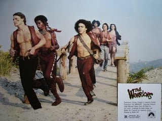 Swan, Cochise, Rembrandt, Snow, Vermin and Mercy, running on the beach. From the movie The Warriors