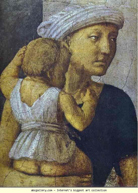 Masaccio. Distribution of the Goods of the  Community and the Death of Ananias (detail).