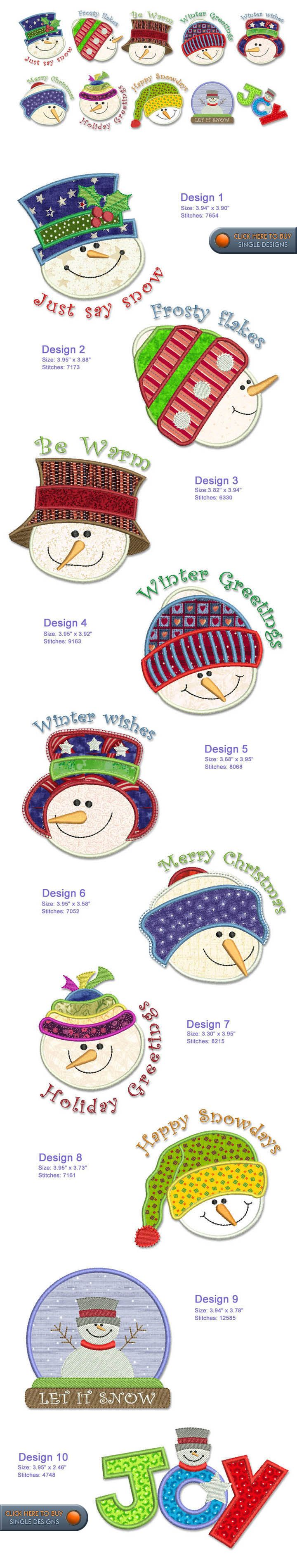 Good use for floss colors not generally used in packs of floss Snowman Embroidery Designs Free Embroidery Design Patterns Applique