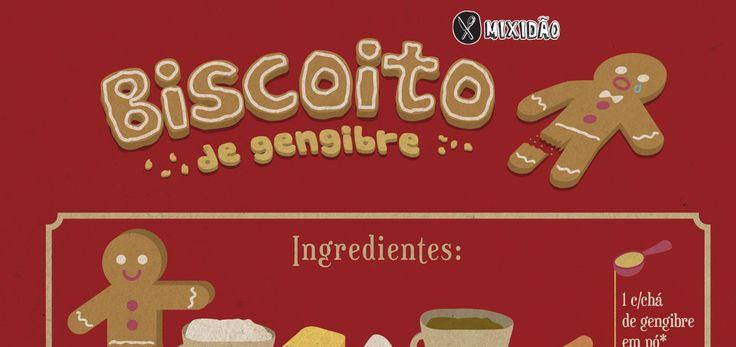 Infográfico receita de Biscoito de Gengibre famoso biscoito se faz na época de Natal. Muito fácil e rápido de fazer.