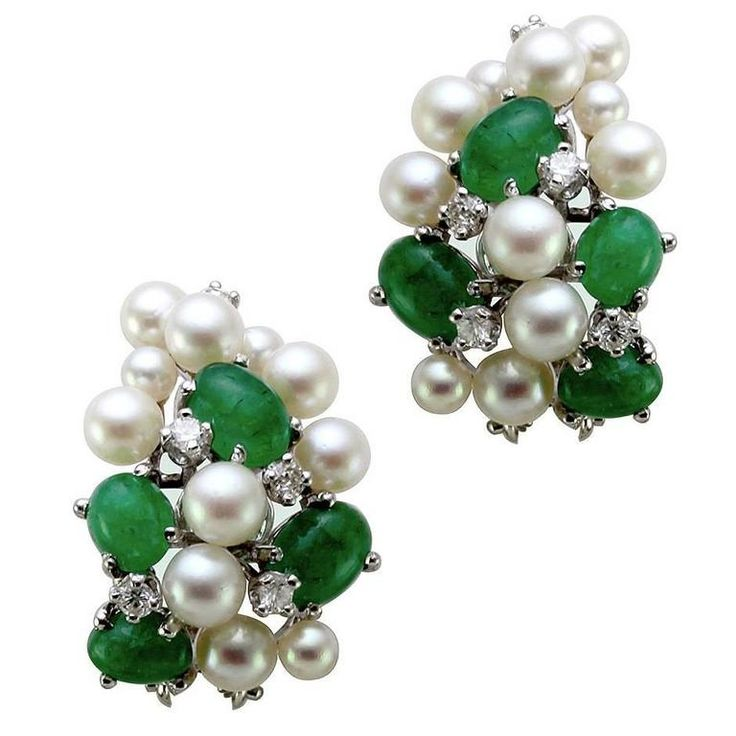 Pearl Emerald Gold Cluster Earrings with Diamond Accents