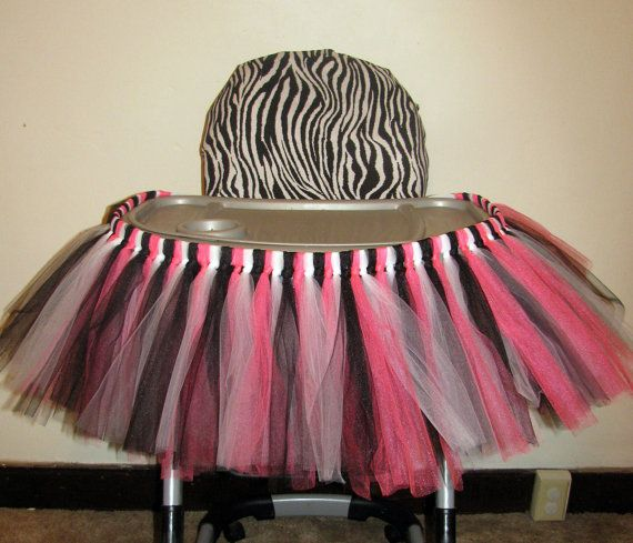 Zebra Highchair Birthday Decoration Tutu TEMPORARY Seat Cover Minnie Mouse, Hello Kitty  by LunasFolly, $30.00