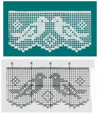 Barradinhos com desenhos em crochê filé.
