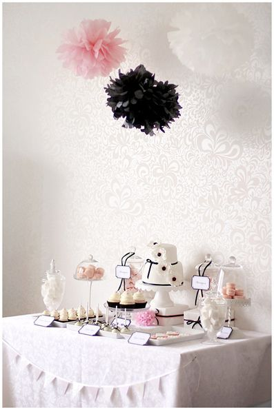 white pink and black dessert table by call me cupcake very cute