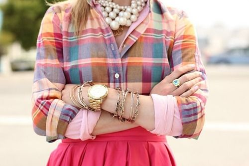 madras, layers, pinkAtlantic Pacific, Fashion, Bright Pink, Pearls Necklaces, Style, Spring Colors, Outfit, Gold Watches, Plaid Shirts