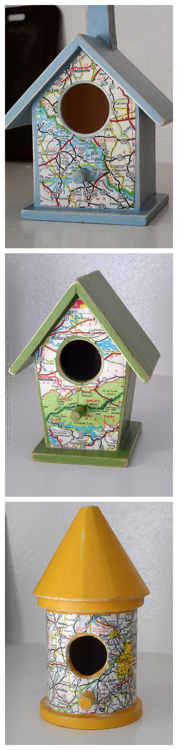 Road Map Birdhouses from CraftsbyAmanda.com @Amanda Snelson Formaro