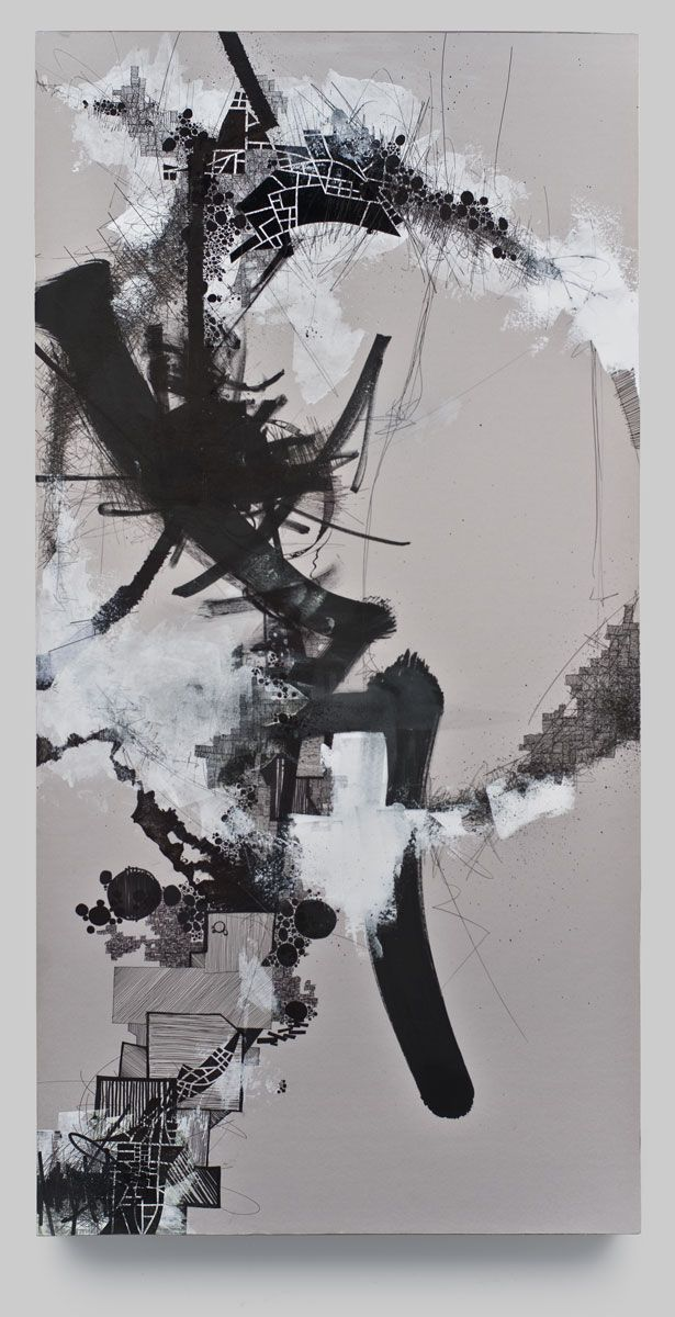 Asvirus 3 - 2010 Ink and gesso on paper mounted to panel 48 x 23.5 in