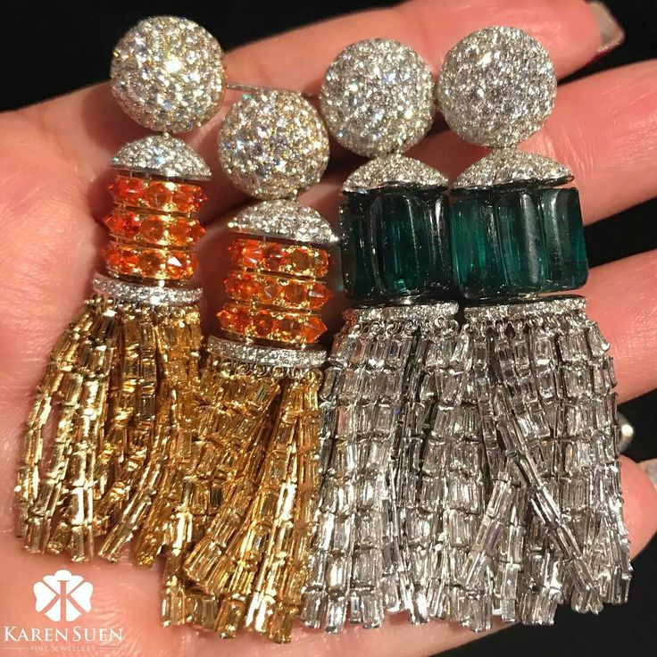 @karensuenfinejewellery. Doubling the sparkle and tassels movement here at Hong Kong Jewellery Show with our latest tassel earrings collection ✨Enter the world of magical gemstones of Karen Suen!