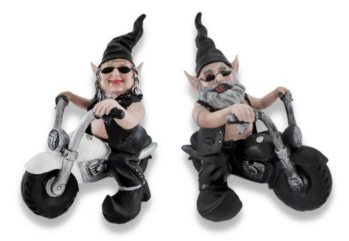 Gnoschitt and Gnofun Ride Again Pair of Motorcycle Riding Biker Gnomes  http://bikeraa.com/gnoschitt-and-gnofun-ride-again-pair-of-motorcycle-riding-biker-gnomes/