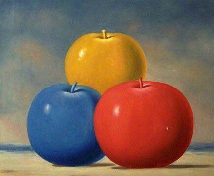 las manzanas representan los tres colores primarios