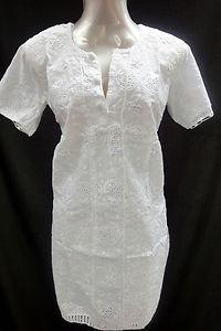White Cotton Hakoba Cutwork Patch Kurti ECL Top Kurta Tunic Size 40 38 7567 | eBay