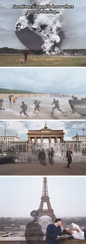 """Superposición de imágenes de la Iniciativa del Canal de la Historia """"Conoce dónde estás"""". Zeppelín Hindenburg en Lakehurst, New Jersey 1937 / 2004; D-Day en Normandía 1944 / 2004; Muro de Berlin Wall 1989 / 2004; Hitler en la Torre Eiffel, Paris 1940 / 2004"""