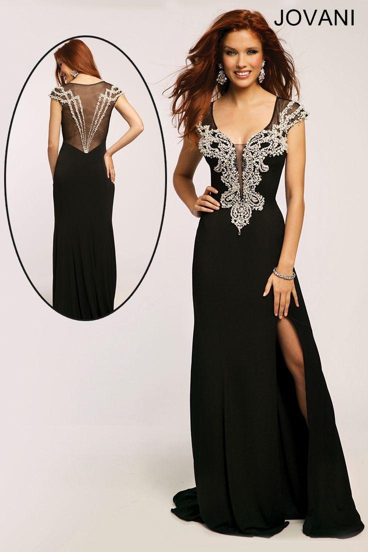 Designer black embellished mesh prom dress
