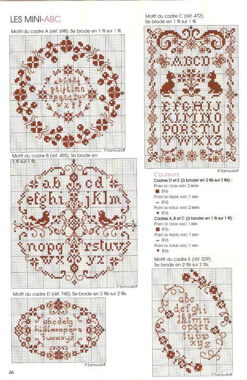 0 point de croix grille et couleurs de fils plusieurs mini abécédaires, alphabet