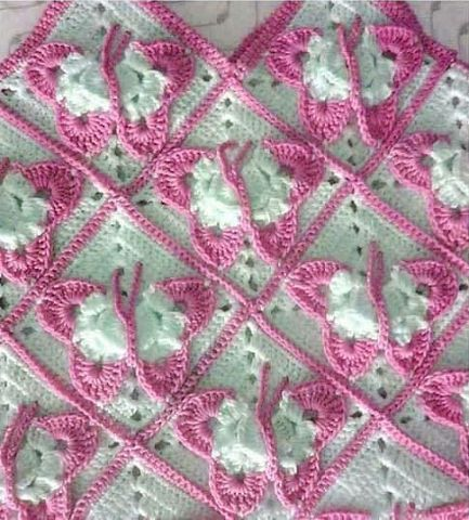 ergahandmade: Crochet Blanket With Butterflies + Diagrams
