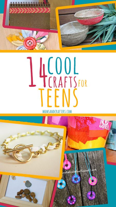 14 cool crafts for teens - a list of crafts from various bloggers using various techniques geared toward teenage girls primarily. These include nail polish crafts, jewelry making , paper crafts, and more. Most of these are very functional, creating a positive experience for teens and tweens.