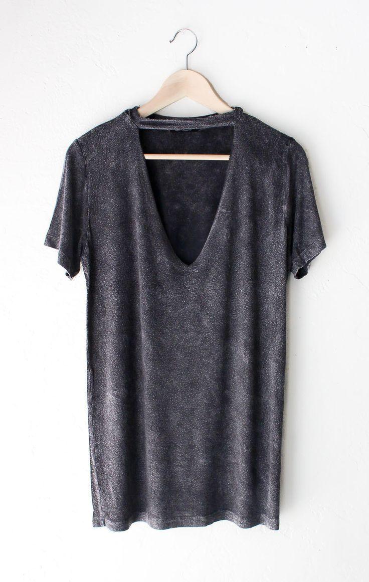 Deep V-neck Cutout Acid Wash Shirt