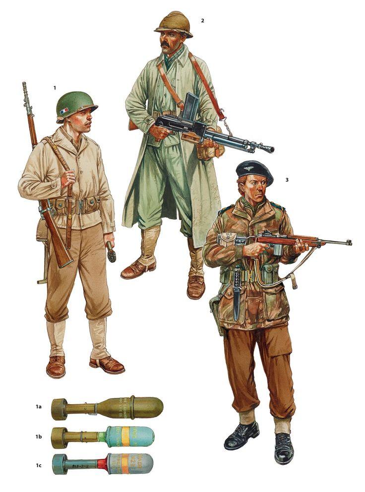 1 - Grenadier - Voltigeur. First French Army, Alsace, September 1944. 2 - Machine Gun - 3rd Infantry Division d'Algérienne, Vosges, winter 1944. 3 - Sergeant Regiment de Chasseurs Parachutistes 2nd - 4th SAS Regiment, Netherlands, April 1945.