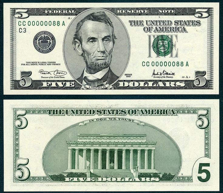 2001 $5 Federal Reserve Note eighty eight 88 CAA 5-2016 ERIBN