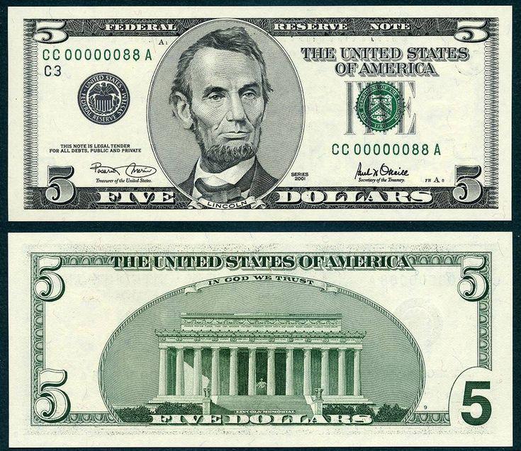 2001 $5 Federal Reserve Note eighty eight 88 CAA 5-2016 ERIBN