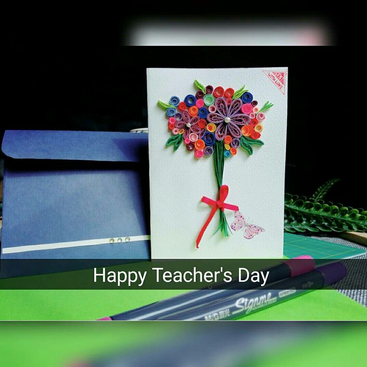 yam's quilling  quilling work teachers day card