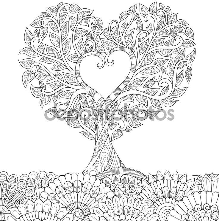 Descargar - Flores en forma de corazón en el arte de línea tierra floral diseño de libro para colorear para adultos, tatuaje, gráficos T - Shirt, tarjetas y así sucesivamente — Ilustración de stock #126494400