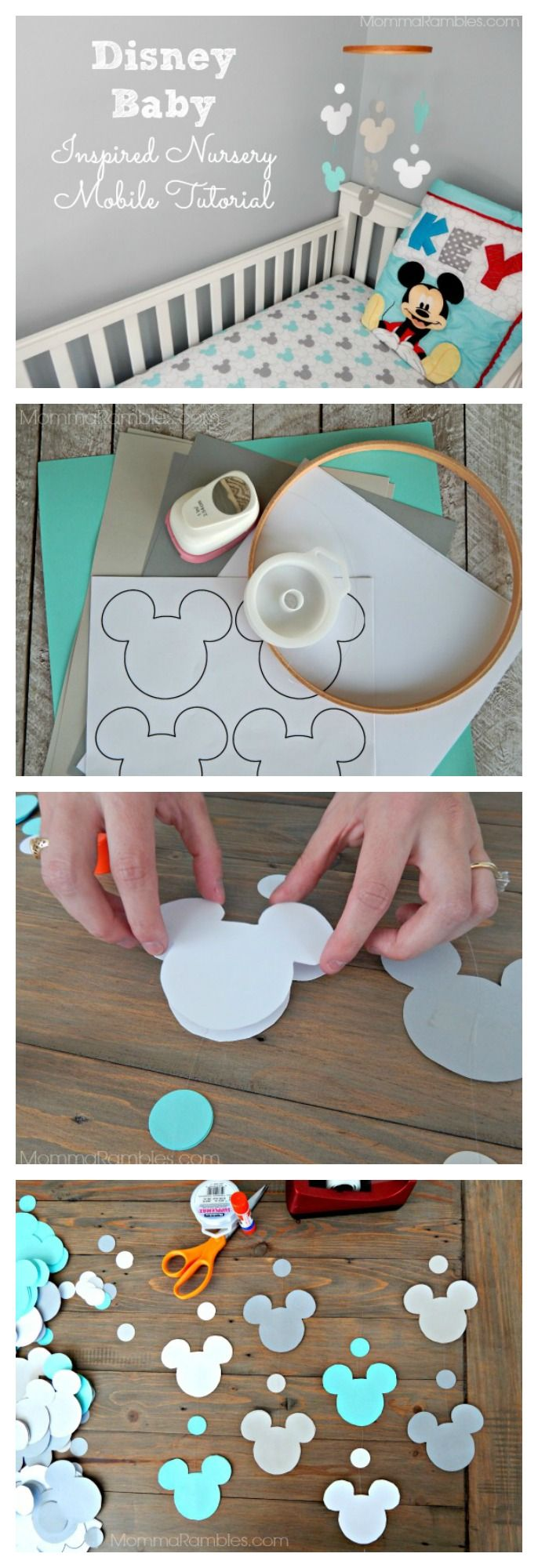 "Disney Baby Inspired Nursery Mobile Tutorial. ""Let's Go Mickey"" crib bedding available at @Walmart. #MagicBabyMoments #CollectiveBias  #Ad"
