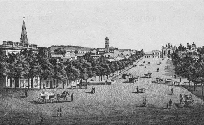 Historical etching of Bathurst Street looking up to Commem - Grahamstown. Cathedral and City hall in background