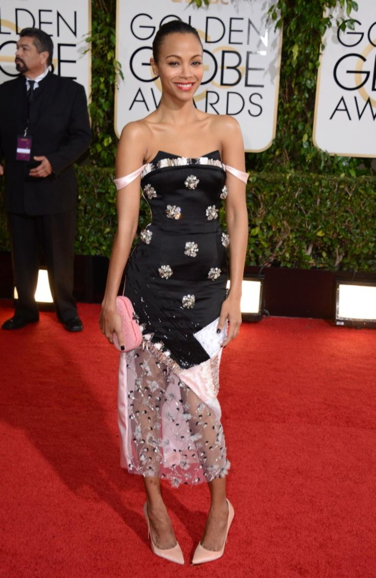 That's one interesting take on the little black dress. Zoe Saldana wore a complicated number by Prabal Gurung to the 2014 Golden Globe Awards in Beverly Hills.