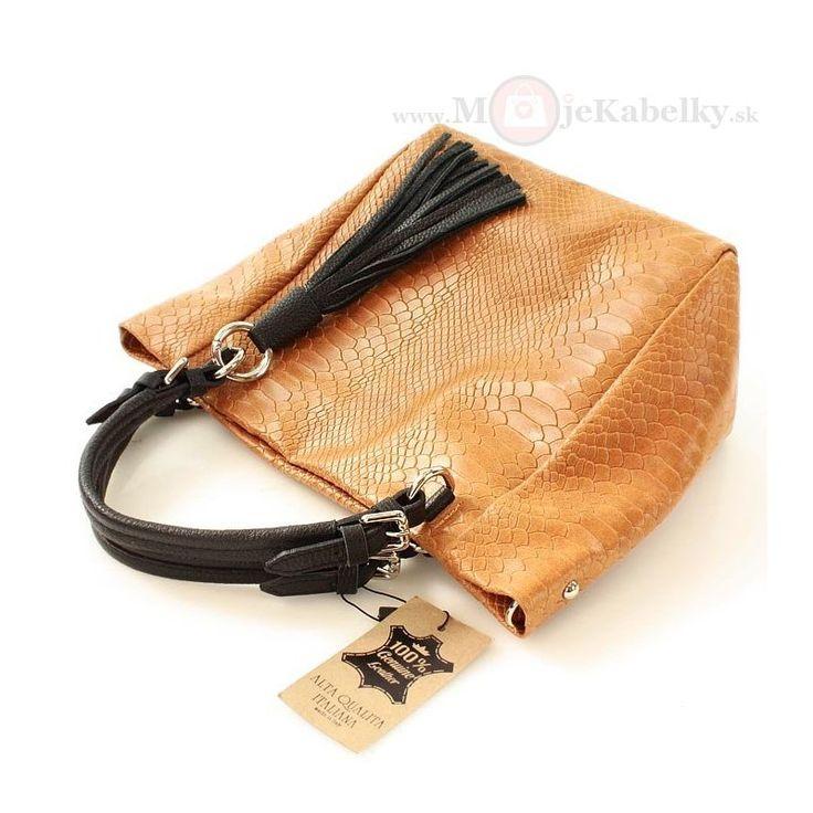 Kožená kabelka Mazzini oranžová koža - MK-VE-21769