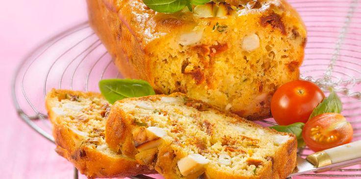 Cake sans gluten,mozzarella et légumes du soleil
