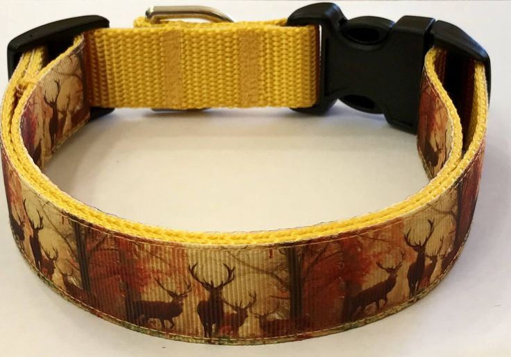 Elk in Forest Adjustable Dog Collar, Hunting Collar, Nature/Wildlife/Rustic Collar, Pet Supplies/Accessories, Veterinary Gift by TwistnShoutDesigns on Etsy