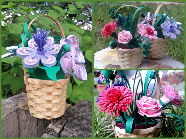 quilled flowers baskets as wedding favors https://www.facebook.com/QuillingByCami